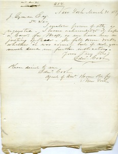 Thumbnail of Letter from Edward Cook to Joseph Lyman