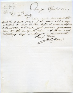 Thumbnail of Letter from J. L. Hall to Joseph Lyman