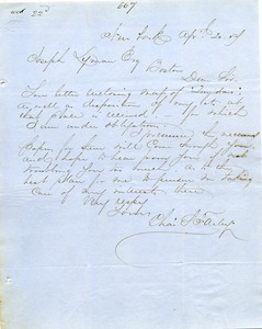 Thumbnail of Letter from Charles Hawley to Joseph Lyman