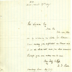 Thumbnail of Letter from E. F. Burr to Joseph Lyman