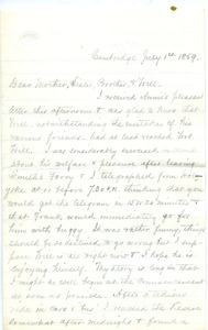 Thumbnail of Letter from Joseph Lyman to Catherine Lyman