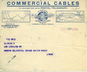 Thumbnail of Telegram from Frank Lyman to unidentified correspondent