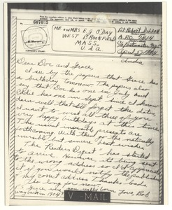 Thumbnail of Letter from Robert E. Dillon to O'Day family