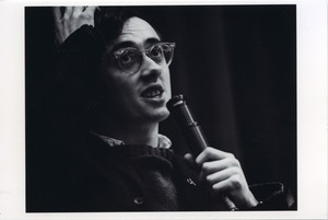 Thumbnail of Raymond Mungo speaking at Boston University peace rally