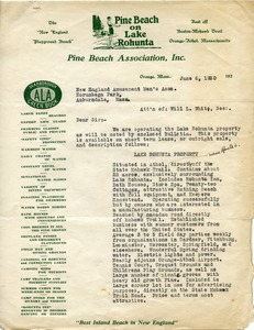 Thumbnail of Letter from Pine Beach Association to New England Amusement Men's Association