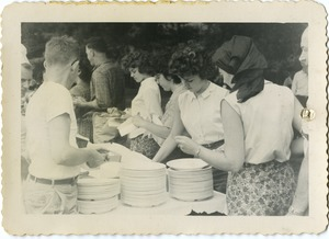 Thumbnail of The  buffet line at the picnic, Pine Beach Rodney Hunt Company annual employee outing