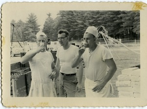 Thumbnail of Cooks taking a drink during a break, Rodney Hunt Company outing, Pine Beach Rodney Hunt Company annual employee outing