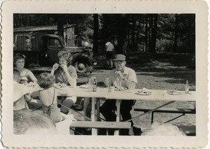 Thumbnail of At the picnic table, Pine Beach Rodney Hunt Company annual employee outing