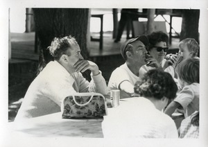 Thumbnail of At the picnic table (with cigar), Pine Beach Rodney Hunt Company annual employee outing
