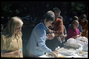 Thumbnail of Picknickers at the buffet, Pine Beach Rodney Hunt Company annual employee outing
