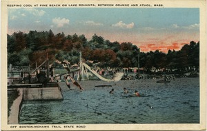Thumbnail of Keeping cool at Pine Beach on Lake Rohunta, between Orange and Athol, Mass. Off Boston-Mohawk Trail State Road