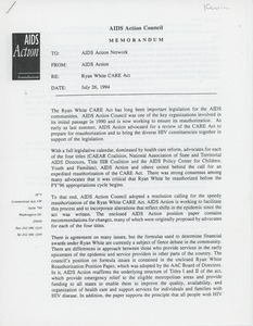 Thumbnail of Memorandum from AIDS action to the AIDS action network