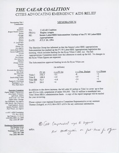 Thumbnail of Memorandum from Regina Aragón to Cities Advocating Emergency AIDS Relief coalition