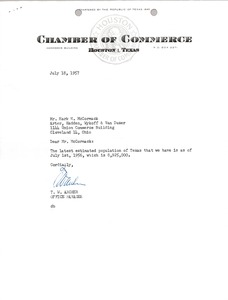 Thumbnail of Letter from Houston Texas Chamber of Commerce to Mark H. McCormack