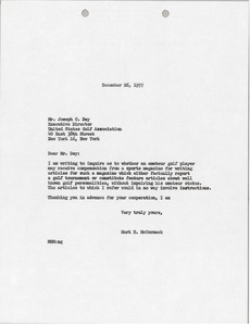 Thumbnail of Letter from Mark H. McCormack to United States Golf Association