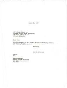 Thumbnail of Letter from Mark H. McCormack to Eastman Dillon Union Securities