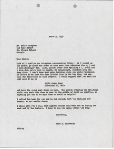 Thumbnail of Letter from Mark H. McCormack to Eddie Thompson