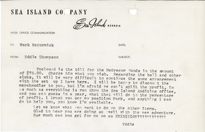 Thumbnail of Letter from Sea Island Company to Mark H. McCormack