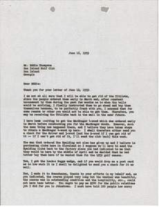 Thumbnail of Letter from Mark H. McCormack to Sea Island Golf Club