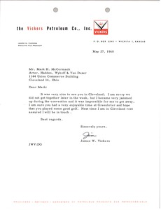 Thumbnail of Letter from The Vickers Petroleum Company to Mark H. McCormack
