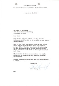 Thumbnail of Letter from Fred Brand to Mark H. McCormack