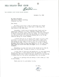 Thumbnail of Letter from Sea Island Golf Club to Mark H. McCormack