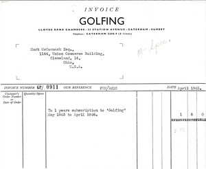 Thumbnail of Golfing invoice