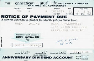 Thumbnail of Connecticut Mutual Life Invoice