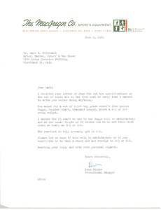 Thumbnail of Letter from The Macgregor Golf Company to Mark H. McCormack