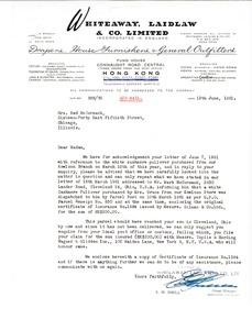 Thumbnail of Letter from Whiteaway, Laidlaw and Company Limited to Grace McCormack
