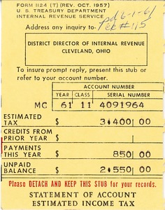 Thumbnail of Estimated income tax statement for 1961