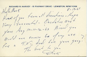 Thumbnail of Letter from Richard R. Harvey to Mark H. McCormack