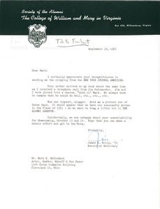 Thumbnail of Letter from James S. Kelly to Mark H. McCormack