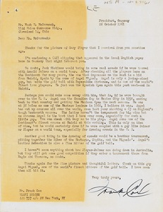 Thumbnail of Letter from Frank Cox to Mark H. McCormack