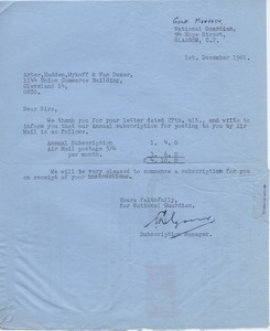 Thumbnail of Letter from National Guardian Publishing Company, Ltd. to Mark H. McCormack