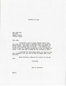 Thumbnail of Letter from Mark H. McCormack to Judy Bell