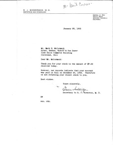 Thumbnail of Letter from R. J. Bowersox to Mark H. McCormack