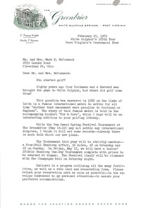 Thumbnail of Letter from E. Truman Wright to Mark H. McCormack
