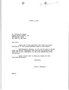 Thumbnail of Letter from Mark H. McCormack to William D. Fugazy