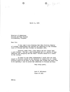 Thumbnail of Letter from Mark H. McCormack to College of William and Mary Office of             Admissions