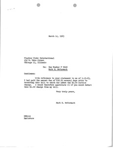 Thumbnail of Letter from Mark H. McCormack to Playboy Clubs International