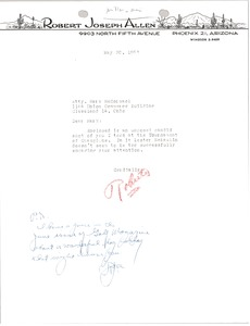 Thumbnail of Letter from Robert Joseph Allen to Mark H. McCormack