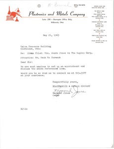 Thumbnail of Letter from Plastronics and Metals Company to Mark H. McCormack