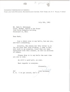 Thumbnail of Letter from Judy Salsberg to Mark H. McCormack