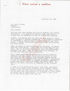 Thumbnail of Letter from J. Edwin Carter to Arnold Palmer