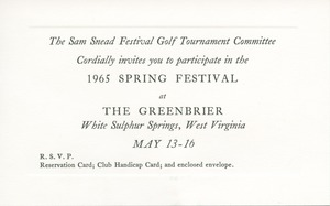 Thumbnail of Greenbrier Sam Snead Spring Festival Invitation Card