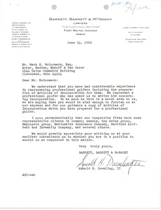 Thumbnail of Letter from Arnold H. Duemling, II to Mark H. McCormack