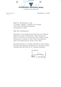 Thumbnail of Letter from Frank E. Agnew to Mark H. McCormack