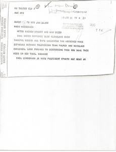 Thumbnail of Telegram from Carl Lindemann to Mark H. McCormack
