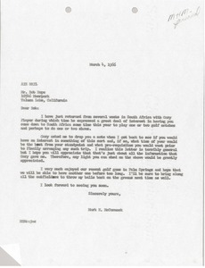 Thumbnail of Letter from Mark H. McCormack to Bob Hope